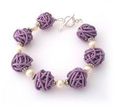 SALE 25 Off Lilac Pearl Scribble Bracelet  by Lottieoflondon, £10.50