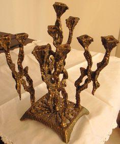 Brutalist Candlestick Vintage Menorah- Abstract - Modernist - Mid Century - Brass Metal Sculpture - Signed - Seder-Israel-Midcentury