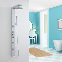 Thermostatic Shower Panel Tower System with Over Head Shower, Handheld and Body Sprays - Shower Panels - Showers