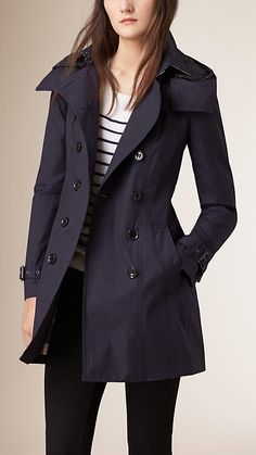 Navy Hooded Trench Coat with Warmer - Image 1