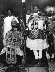 Emperor of Ethiopia Haile Selassie I seated in state in Addis Ababa with his courtiers in elaborate national dress. (Photo by Hulton Archive/Getty Images) African Culture, African History, Rastafari Art, Black Royalty, Haile Selassie, African Royalty, Tribe Of Judah, Old Portraits, Black Lion