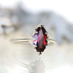 Genuine Marquise Red Garnet No Nickel Sterling Silver Ring, Gemstone RIng, Marquise Shape Ring, Eco Friendly Ring - Made To Order by louisagallery on Etsy