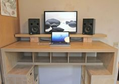 Hacked IKEA Expedit Standing Desk With Built-In Look