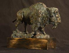 Bison bronze buffalo bronze bronze sculpture by FrankColeArt