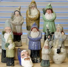 """Antique Belsnickles """" traditional German Santa """" figurines made from papier-mâché. We had these at my house. Merry Christmas To All, Antique Christmas, Father Christmas, Christmas Items, Christmas Holidays, Christmas Decorations, Christmas Ornaments, German Christmas, Blue Christmas"""