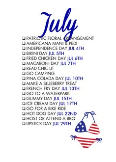 Seasonal Living List 18 Reasons To Celebrate July! A monthly life list Reasons To Celebrate July! A monthly life list helps… Monthly Planner, Life Planner, Happy Planner, Planner Ideas, Monthly Celebration, Planners, Journal Inspiration, Life List, Months In A Year