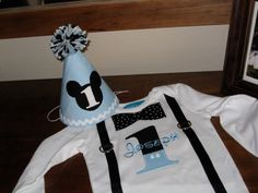 Birthday Hat Mickey Mouse Baby Blue First by LittleStitchinLu