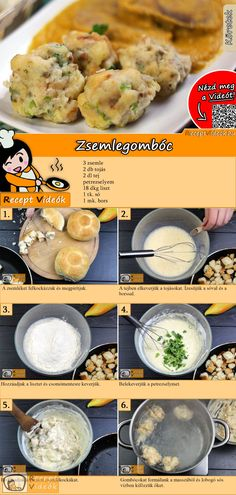 Zsemlegombóc recept elkészítése videóval Easy Cooking, Cooking Recipes, Healthy Recipes, Good Food, Yummy Food, Tasty, Breakfast Time, Breakfast Recipes, Hungarian Recipes