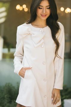 Shop the Ella Bow Coat - boutique clothing featuring fresh, feminine and affordable styles. Weather Seasons, Bow Necklace, Affordable Fashion, Boutique Clothing, Your Hair, Chef Jackets, Short Dresses, Feminine, Bows