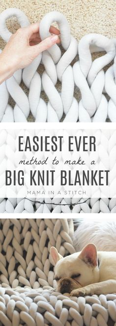 How To Easily Knit A Big Yarn Blanket - Chunky knit blanket diy - Such an easy way to make a big knit blanket without having to arm knit or needle knit! Perfect for - Big Yarn Blanket, Large Knit Blanket, Chunky Blanket, Diy Arm Knitting Blanket, Arm Knitting Yarn, Free Knitting, Vintage Knitting, Giant Knitting, Square Blanket