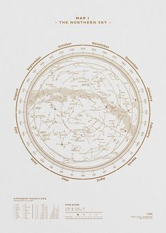 Carte du ciel hémisphère nord http://fubiz.spootnik.com/p/1505/map-i-the-northern-sky-gold-white.html
