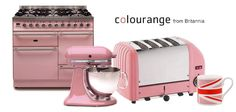 """Collection of PINK kitchen appliances including a Britannia range cooker custom finished via the """"Colourange"""" service."""
