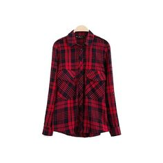 Red Plaid Print Longerline Cotton Shirt BL1060036 ($21) ❤ liked on Polyvore featuring tops, flannels, plaid, red, long-sleeve shirt, loose long sleeve shirt, red shirt, purple shirt and red plaid shirt