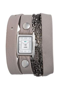 La Mer Collections 'Waterfall' Leather & Chain Wrap Watch $128