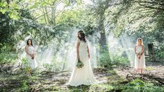 Magical woodland weddings creative inspiration shoot at Beamish Hall. Bride in gorgeous jenny packman dress. New woodland wedding ceremony venue in Durham