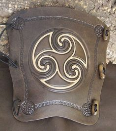 2 tone Antique Black Celtic Swirl embossed by BigfootLeather, Sca Armor, Viking Armor, Larp, Leather Bracers, Arm Guard, Leather Projects, Leather Crafts, Archery Hunting, Thick Leather