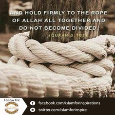 Hold Firmly the Rope of ALLAH...  ||►Like ||►Share ||►Comment ||►Promote ||►Spread  #IslamicQuotes #Islamic #Allah