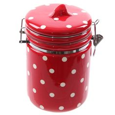 Ceramic Polka Dot Red and White Storage Jar, Kitchenware, House & Garden on sale at CQout Online Auctions