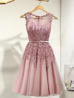 Delicate A Line Scoop Neck Applique Short Prom Dress ItemCode:12188293 @ www.eclipseexpress.com