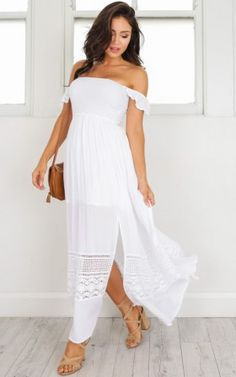 Caught Me Thinking maxi dress in white