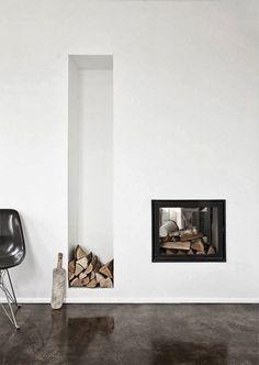 Amazing fireplace and storage