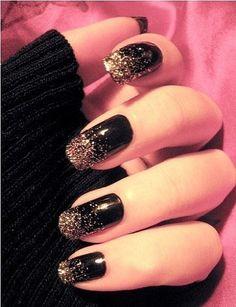 Shining Black Nail Design