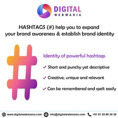 In the world of Social Media, Hashtags plays a major role. Hashtags helps to reach your targeted & wider audience. Digital Web Mania does lot of research to put the right hashtags for your social media post. Internet Marketing, Social Media Marketing, Digital Marketing, Web Design Company, Seo Company, Digital Web, Seo Specialist, Best Seo Services, Seo Agency