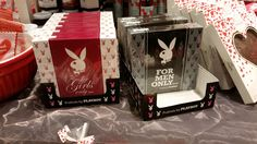 "From Em: ""These Playboy chocolates were sold here in Germany for Valentine's Day... Men get Whiskey, Mocca-Rum and Espresso (Alcohol! And bitterness! And dark colors! Only motor oil flavored chocolates could be less threatening to your performance of masculinity!) ""Girls"" get Cappuccino, Nougat, and Raspberry-Prosecco flavor. I suppose raspberries are pink."" Thanks! :)"