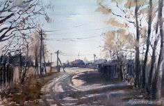 """Country Road"" - watercolour, 34 x 54 cm. 2011. - by Misha Kuznetsov"