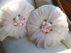 Vintage Pair OF Pretty Pink Shabby Cushions Pillows Lace Flowers Satin Chic | eBay