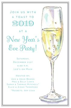 Personalized Fizzy Flute Invitations, Create Beautiful Personalized New Year's Eve Invitations at Affordable Prices Wedding Rehearsal Invitations, New Years Eve Invitations, Holiday Party Invitations, Birthday Invitations, Invites, Mark And Amy, New Years Eve Party, Invitation Design, Flute