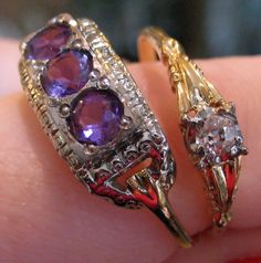 Two Art Deco rings from The Antique Guild in Old Town Alexandria, VA. Left: yellow gold, white gold, and amethyst. Right: gold and diamond. Via Diamonds in the Library.