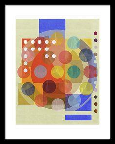 Bauhaus London Abstract Spots Dots Composition Mondrian Inspired Framed Print featuring the digital art Bauhaus London One by Big Fat Arts