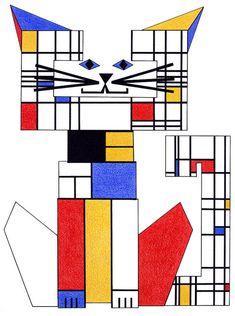 Gato arte - gato Print - gato ilustración - loco gato Señora - gato Decor - gato dibujo - Cat pared arte - juego del gato - Piet Mondrian C-Cat por beckyzimm
