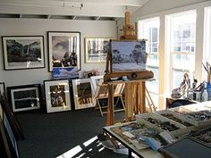 Sheila Delimont has space to work and display her pastel paintings in her Monterey, California studio.