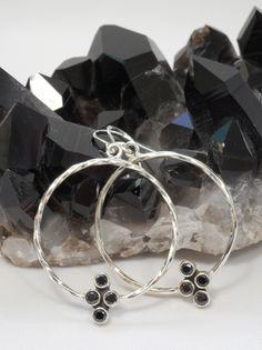 Black Onyx and Sterling Hoop Earring Set 1