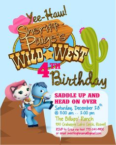 CUSTOM Sheriff Callie's Wild West Birthday Party Invite by sweetleighmama, $12.00