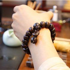 Ubeauty intagliato A Mano reale perline di legno di pesco braccialetto Buddha bracciali per uomo donna