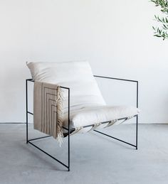 Sierra Chair Open Steel Frame with Down Cushion by CroftHouseLA