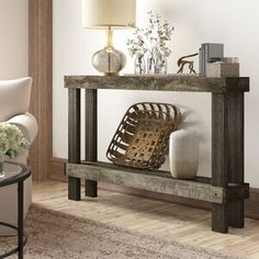 Union Rustic Dunlap Solid Wood Console Table Color: Dark Walnut, Size: H x W x D Drum Coffee Table, Round Wood Coffee Table, Lift Top Coffee Table, End Tables With Storage, Coffee Table With Storage, Wine Storage, Decoration, Entryway Tables, Entryway Ideas