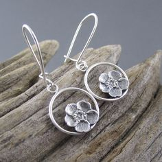 """Product features: - Eco-friendly recycled sterling silver. - Secure, latching style ear wires. - Size = 5/8"""" (1.6cm) in diameter not including sterling silver ear wires. - Handcrafted in Marquette, Mi"""