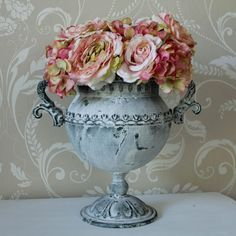 Vintage Aged Distressed Grey Urn