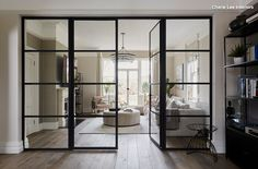 10 Beautiful Rooms Internal crittall windows look fantastic with wood flooring. Two key looks that will bring your home up-to-date Wood Flooring Uk, Engineered Wood Floors, Crittal Doors, Crittall Windows, Sliding Windows, Windows 10, Sliding Doors, Door Design, House Design