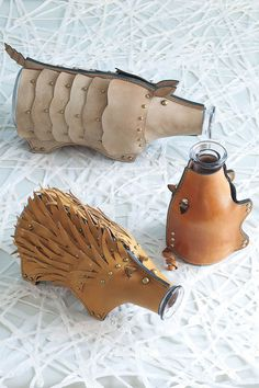 Leather animal carafes; armadillo, piglett, and porcupine. Unique housewarming gift