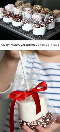 Giant chocolate dipped marshmallows - the perfect giveaway treat to make with kids. Simple steps and people love 'em!