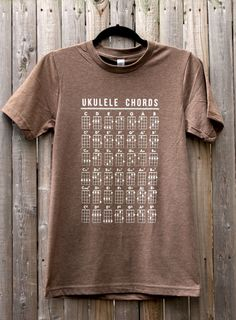 Ukulele Chords // Unisex Tee Shirt // Clearance by FencingNArchery, $18.00