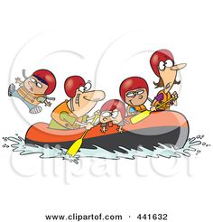 Royalty-Free (RF) Clip Art Illustration of a Cartoon Family Rafting by Ron Leishman #441632