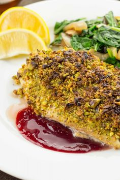Pistachio Crusted Red Snapper with a Blood Orange Reduction