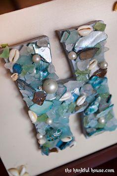 The Hankful House: I Heart Sea Shells, sea glass, seashell crafts