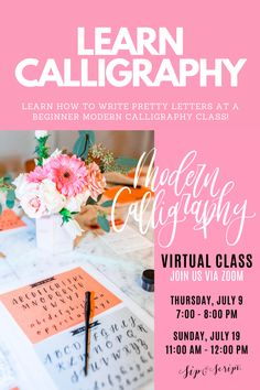 Join ECLetters and Sip & Script for a VIRTUAL beginner calligraphy class! Learn about ink, nibs, and how to write pretty letters, all from home; sweats and wine welcome! Brush Pen Calligraphy, Learn Calligraphy, Modern Calligraphy, Pretty Fonts Alphabet, Pretty Letters, Font Alphabet, Lettering Styles, Lettering Art, Monogram Fonts